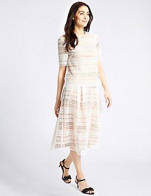 Lace Cutwork A-Line Midi Skirt, IVORY MIX, catlanding