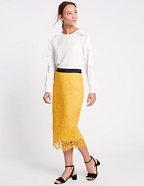 Floral Lace Waistband Pencil Midi Skirt, YELLOW, catlanding
