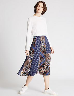 Smock A-Line Skirt, RED MIX, catlanding