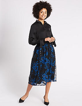Embroidered Mesh A-Line Midi Skirt, BRIGHT BLUE MIX, catlanding