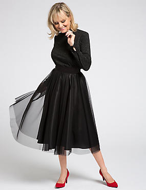 Lace Tutu A-Line Midi Skirt, BLACK, catlanding