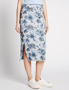 Jacquard Print Pencil Skirt, PINK MIX, catlanding