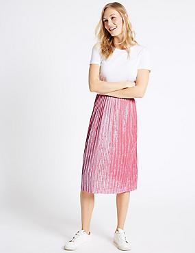 Crushed Velvet Pleated A-Line Midi Skirt, SOFT PINK, catlanding