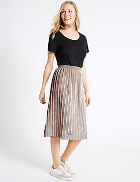 Crushed Velvet Pleated A-Line Midi Skirt, OYSTER, catlanding