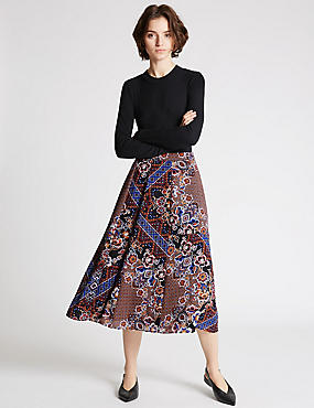 Floral Print A-Line Skirt, BLACK MIX, catlanding