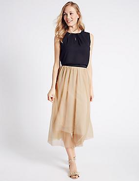 Spotted Mesh A-Line Midi Skirt , OYSTER, catlanding