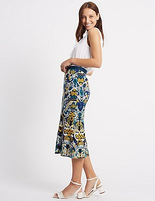Fluted Hem Embroidered Pencil Midi Skirt, YELLOW MIX, catlanding