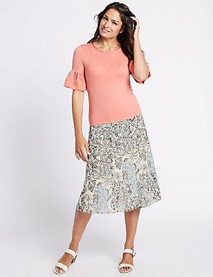 Printed A-Line Midi Skirt, BLUE MIX, catlanding