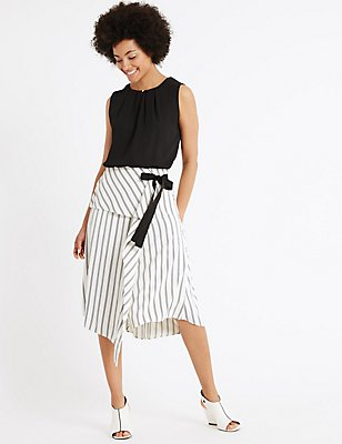 Asymmetric Striped A-Line Midi Skirt, WHITE MIX, catlanding