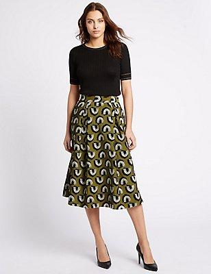 Jacquard Print A-Line Midi Skirt , BROWN MIX, catlanding