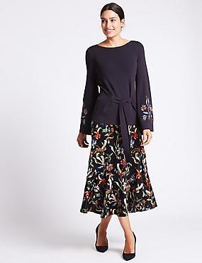 Ruffle Floral Print A-Line Midi Skirt, NAVY MIX, catlanding