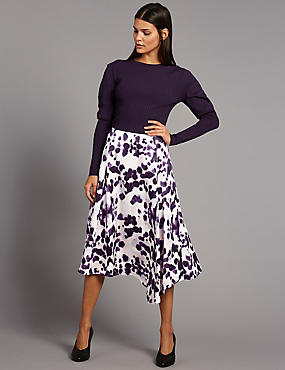 Ink Print Asymmetrical Midi Skirt, BLACK MIX, catlanding
