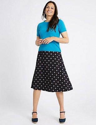 Geometric Floral Print A-Line Midi Skirt, NAVY MIX, catlanding
