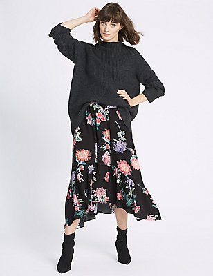 Floral Print A-Line Midi Skirt , BLACK MIX, catlanding
