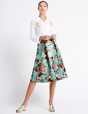 Floral Print Jacquard A-Line Midi Skirt, GREEN MIX, catlanding