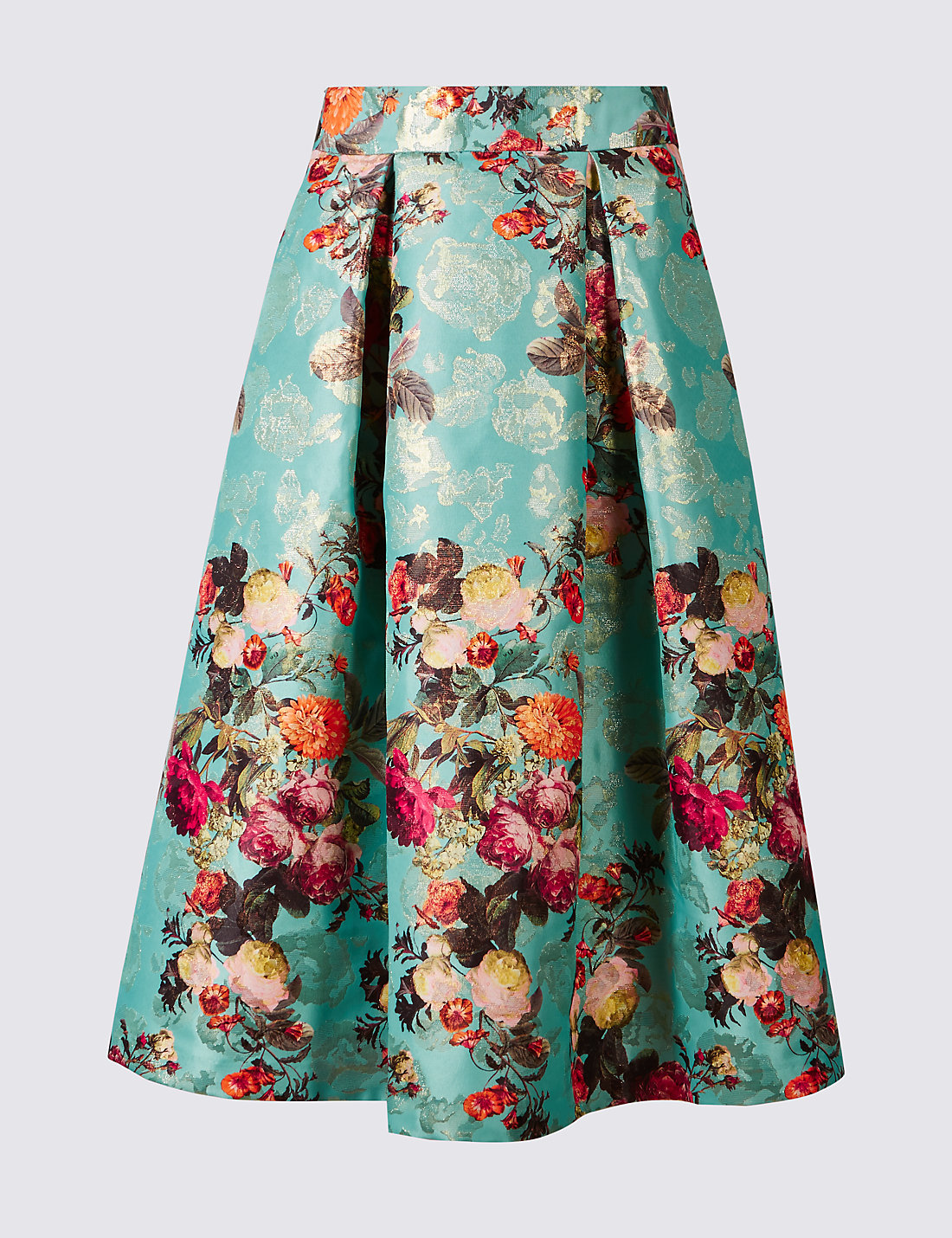 Floral Print Jacquard A-Line Midi Skirt | M&S