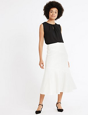 Linen Blend Bias Cut A-Line Midi Skirt, SOFT WHITE, catlanding