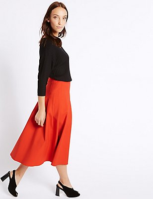 Cotton Blend Box Pleated A-Line Midi Skirt, PAPRIKA, catlanding