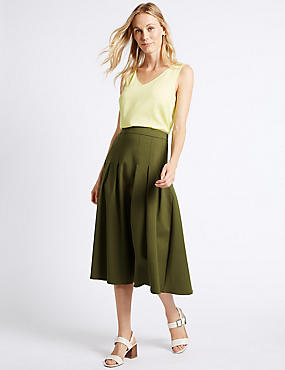 Cotton Blend Box Pleated A-Line Midi Skirt, OLIVE, catlanding