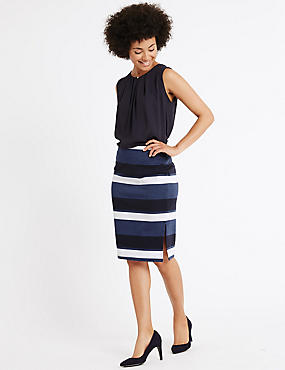 Striped Ponte Pencil Skirt, INDIGO MIX, catlanding