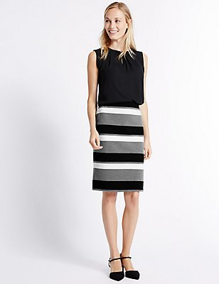 Striped Ponte Pencil Skirt, BLACK MIX, catlanding