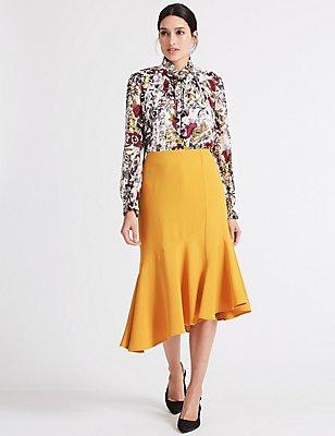 Crepe Asymmetric Midi Skirt, BRIGHT GOLD, catlanding