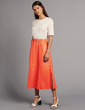 Leather A-Line Midi Skirt, RED, catlanding