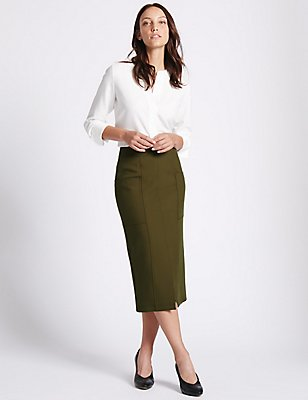 Front Split Patch Pocket Pencil Midi Skirt, OLIVE, catlanding