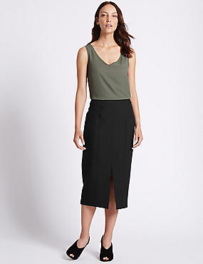 Front Split Patch Pocket Pencil Midi Skirt, BLACK, catlanding