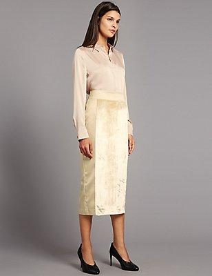 Velvet Pencil Midi Skirt, GOLD MIX, catlanding