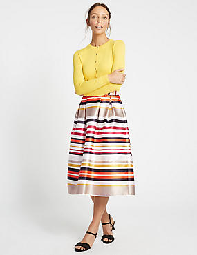 Striped A-Line Midi Skirt, MULTI, catlanding