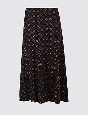 Geometric Print Jersey Midi Skirt, BURGUNDY MIX, catlanding