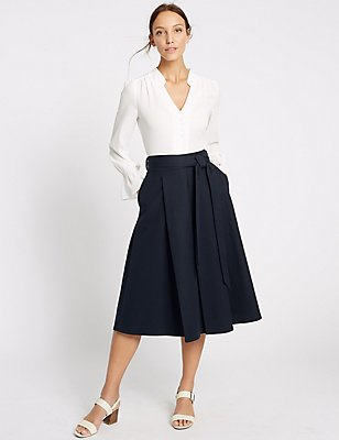 Cotton Rich Tie Detail A-Line Midi Skirt, NAVY, catlanding