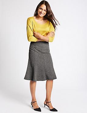 Textured A-Line Midi Skirt  , BLUE MIX, catlanding