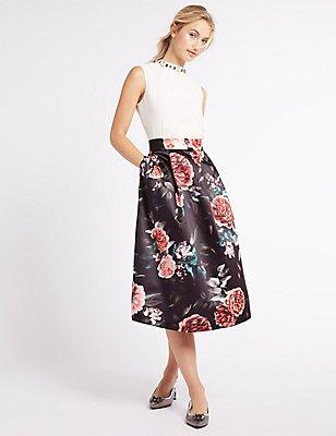 Floral Print Satin A-Line Midi Skirt, BLACK, catlanding