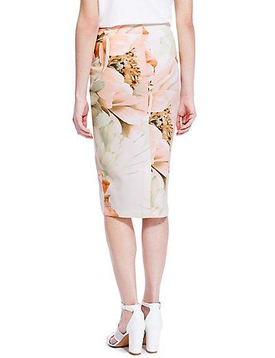Scuba Floral Pencil Skirt   M&S