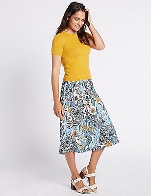 Paisley Floral Print A-Line Midi Skirt, MULTI, catlanding