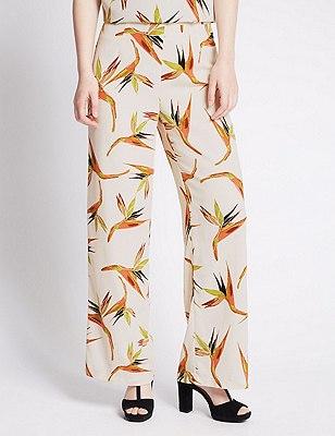 PETITE Paradise Bird Print Wide Leg Trousers, IVORY MIX, catlanding