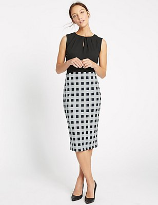 Checked Pencil Midi Skirt, IVORY MIX, catlanding