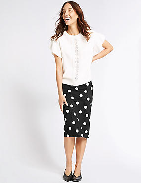 Scuba Spot Pencil Midi Skirt, BLACK MIX, catlanding