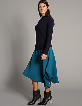 Asymmetrical Hem A-Line Midi Skirt, DARK PETROL, catlanding