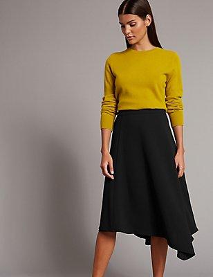 Asymmetrical Hem A-Line Midi Skirt, BLACK, catlanding