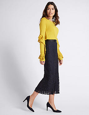 Cotton Blend Flared Lace Pencil Midi Skirt, NAVY, catlanding