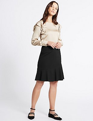 Ruffle A-Line Mini Skirt, BLACK, catlanding