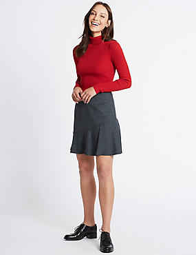 Checked Ruffle A-Line Mini Skirt, GREY MIX, catlanding