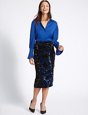 Embellished Sequin Pencil Midi Skirt, BLUE MIX, catlanding
