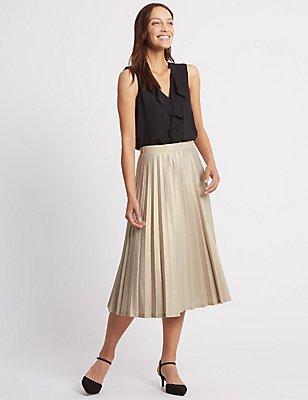 Pleated Metallic A-Line Midi Skirt, GOLD, catlanding