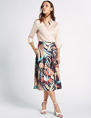 Blurred Floral Print A-Line Midi Skirt , NAVY MIX, catlanding