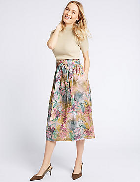 Cotton Rich Floral Print A-Line Midi Skirt, PURPLE MIX, catlanding