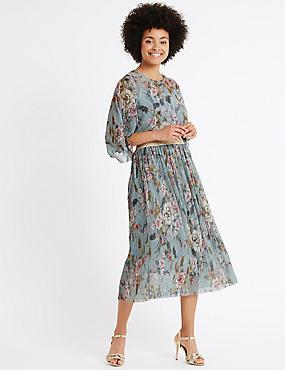Floral Print Plisse A-Line Midi Skirt, BLUE MIX, catlanding